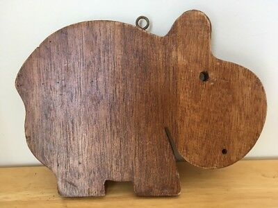 Vintage Carved Wood Mahogany Trivet Wall Plaque Hippo Hippopotamus Animal