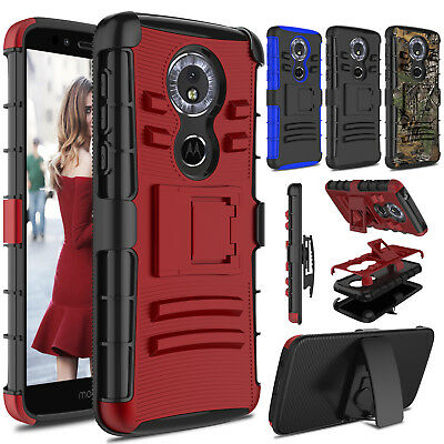 For Motorola Moto G6/G6 Play/G6 Plus Shockproof Case With Kickstand Clip Holster