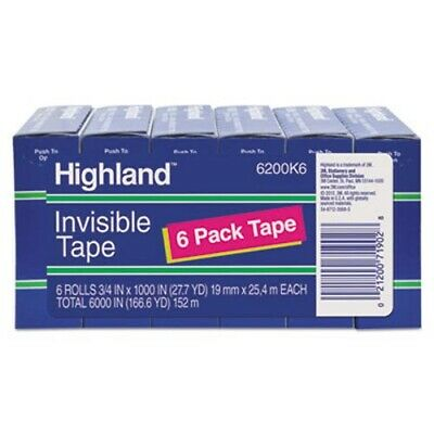 "Highland Invisible Permanent Mending Tape, 3/4"" x 1000"", 6 Rolls (MMM6200K6)"