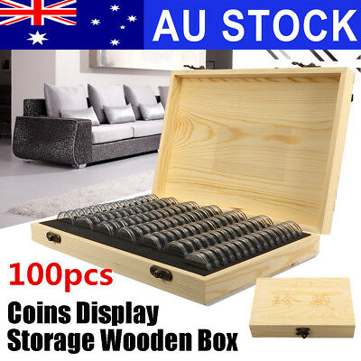 AU 100X Coin Capsule Holder Wooden Container Storage Box Display Case 25/27/30MM