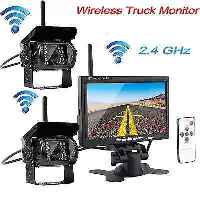 "2 Wireless IR Back Rear View Camera Night Vision Kit+7"" Monitor for RV Truck Bus"