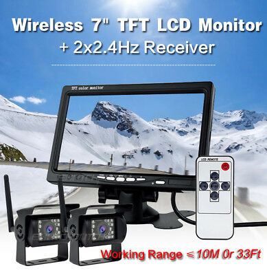 "Wireless 7"" Monitor for RV Truck Bus + IR Back Rear View Camera Night Vision Kit"
