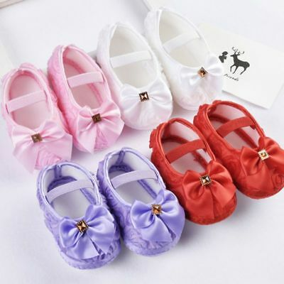 Baby Girl Bowknot Soft Crib Soled Princess Shoes Prewalkers Anti-Slip Walking UK