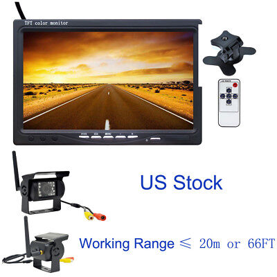 "Wireless 7""TFT Monitor for RV Truck Bus + Back Rear View Camera Night Vision Kit"