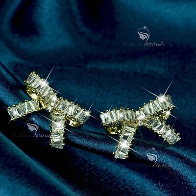 18k gold filled clear crystal bow tie stud 925 silver post earrings