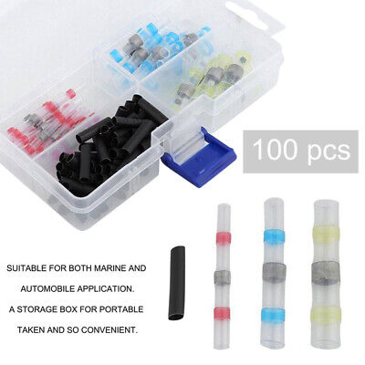 100Pcs Heat Shrink Solder Sleeve Wire Crimp Butt Terminals Connector waterproof