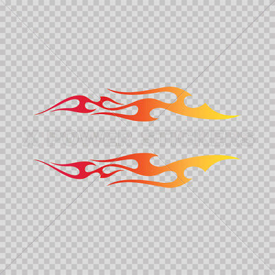 Sticker Decal Pair Of Tribal Flames Yellow Orange Red 0500 02661