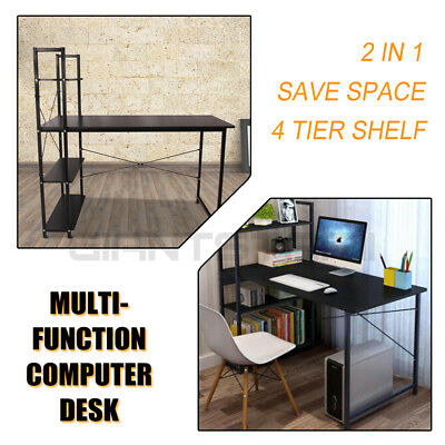 Computer Office Desk Laptop Home Storage Study PC Workstation With 4 Tire Shelf