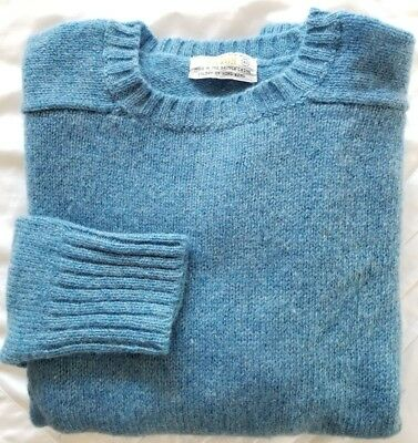 ASTON Womens Sweater 100% Shetland New Wool Blue Pullover Crew Neck Vintage 40