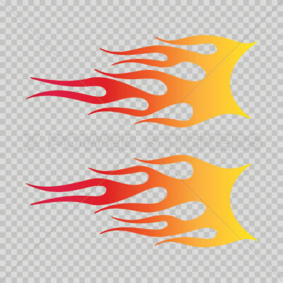 Decals Decal Pair Of Flames Red Orange Yellow Sports 0500 02290