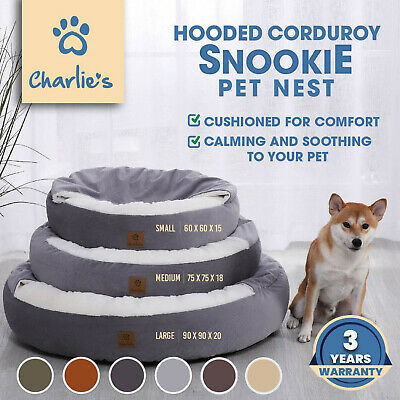 Deluxe Pet Pouch Bed House Igloo Hooded Circular Round Cushioned Dog TWO SIZES