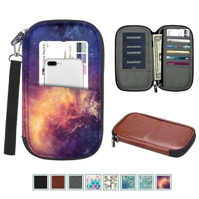 Travel Leather Passport Credit ID Card Wallet Holder Case RFID Blocking Bag Case