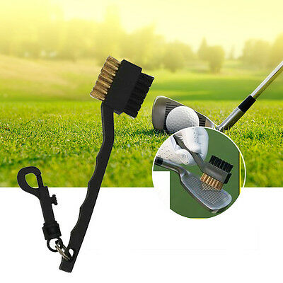 Dual Bristles Golf Club Brush Cleaner Ball Cleaning Clip Groove Lightweight