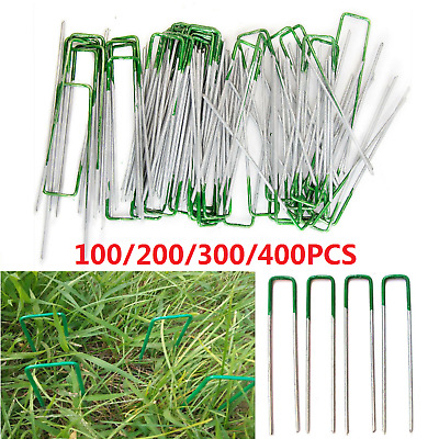 100/200x Lawn Anchor U Tent Pegs Weed Mat Fastening Turf Pins Grass Synthetic AU