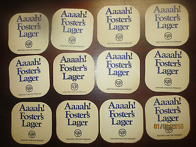 12 FOSTERS LAGER  collectable COASTERS I / sided EARLY 1970,s Issue P