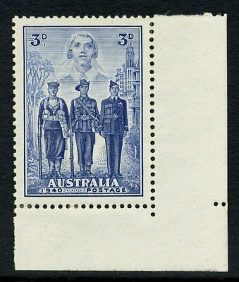 1940 Australian Imperial Forces 3d Blue MH *CORNER UNIT* SG 198 67D