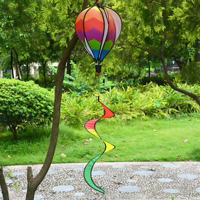 Striped Rainbow Windsock Hot Air Balloon Wind Spinner Garden Decor Kids Gift