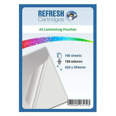 Laminating Pouches A2 150 Micron Pack of 100 Sheets
