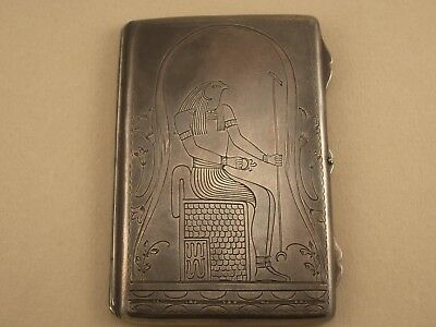 Vintage Antique  Egyptian Revival Silver Business Visit Card Holder
