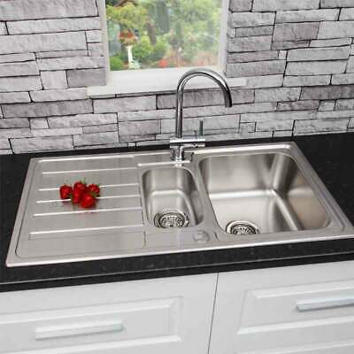 Modern Stainless Steel 1.5 Bowl Reversible Drainer Kitchen Sink + FREE Wastes