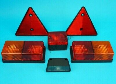 Rear Trailer Oblong Light Kit with Fog & Number Plate Lamp & Triangle Reflectors