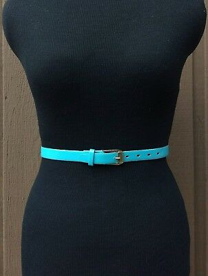 Vintage 1980s Teal Blue Waist Belt Gold Metal Buckle Size Small 30.5 in