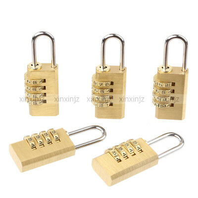 5PCS Resettable Combination 4 Digit Brass Lock Password Padlock for Cabinet