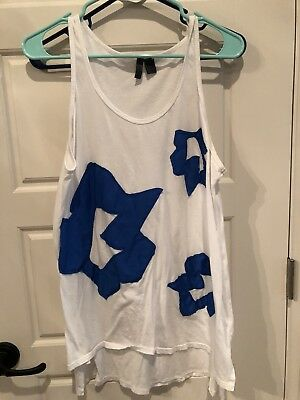 832638ff74a56 anthropologie left of center alamere blue applique on white tank top xs XL