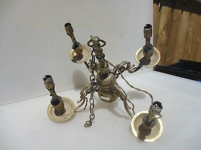 Vintage Brass Chandelier Ceiling Light 4 Arm Branch Antique Leaf Roccoo Old
