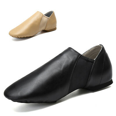 Child & Adult Men Women Leather Slip On Jazz Dance Shoes Exercise Black Beige