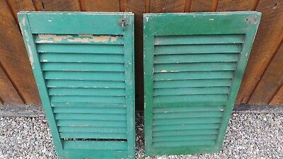 "VINTAGE Old 2 SHUTTERS Wooden 28"" long x 15"" Wide Architectural Salvage"
