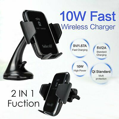 Fast Wireless Car Charger Gravity Air Vent Magnetic Mount Holder For Cell Phone