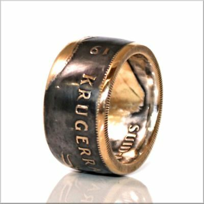 1 oz South African Gold Krugerrand Coin Ring 22K, Patina, Tails, Size 10  [7LAj]