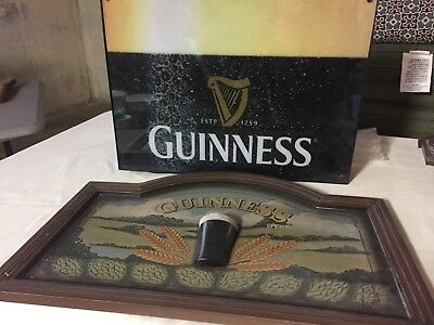 Two Guinness  Signs: A Box Light Sign AND vintage wooden wall sign with 3D pint