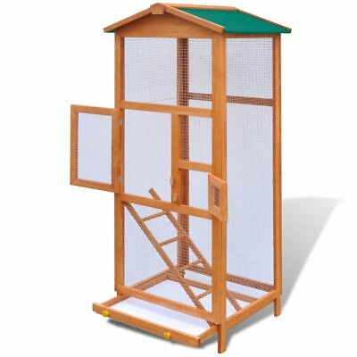 Wood Bird Cage Play House Parrot Finch Cockatoo Macaw Aviary Pet Shelter Feeder
