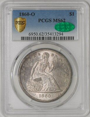 1860-O Seated Liberty Dollar $ #938246-13 MS62 Secure Plus PCGS ~ CAC