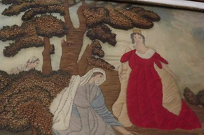 Antique Georgian Regency Needlework Embroidery Picture - Finding Moses