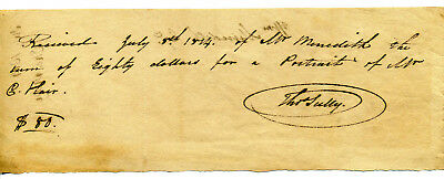 American Artist Thomas Sully Manuscript Signed Receipt Paid For Portrait 1814