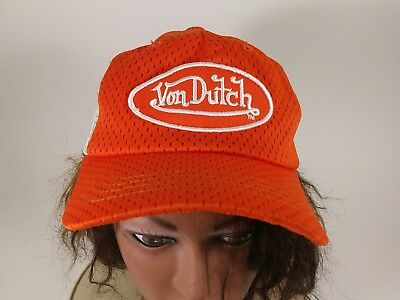 Vintage Von Dutch Orange   White Trucker Hat Ball Cap Kustommade f203353abba1