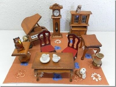 Vintage Miniature Dollhouse Wooden Furniture Piano Grandfather Clock Cabinet