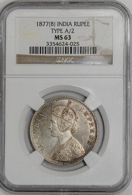 1877(B) India Rupee Type A/2 #934512-19 MS63 NGC