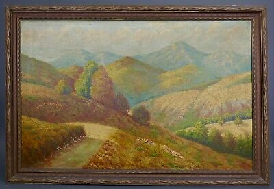 Antique 1920s  MOUNTAIN LANDSCAPE Plein Air Oil Painting ARTS and CRAFT Frame