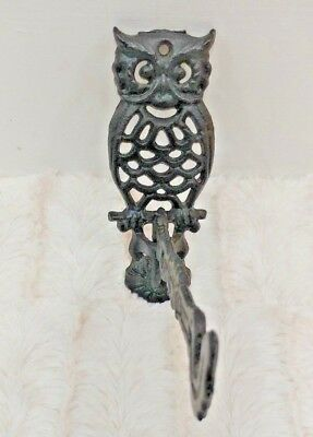 "Vintage Black Cast Iron 5"" Owl Wall Hook Swivel Plant Hanger Bracket Taiwan"