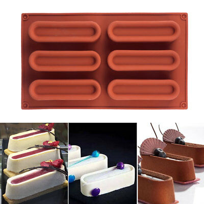 6-Cavity Silicone Cuboid Art Mousse Cake Maker Mold Tray Pastry Baking Pad Tools