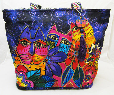 Laurel Burch Cats & Kittens Beach Style Canvas Tote Bag