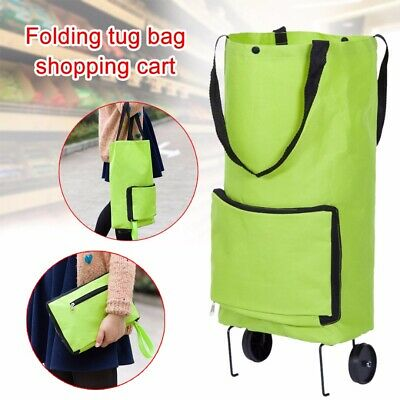 Foldable Trolley Bag Portable Shopping Cart Folding Home Travel Luggage Green