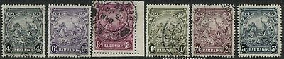 Barbados 1938-46 KGVI 4d to 5/ used