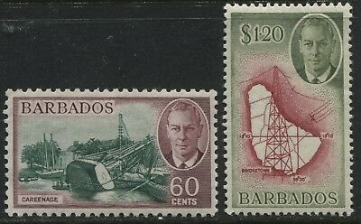 Barbados KGVI 1950 60 cents & $1.20 mint o.g.