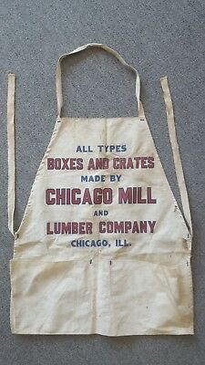 Vintage Chicago Mill and Lumber Canvas Apron Boxes Crates Illinois IL