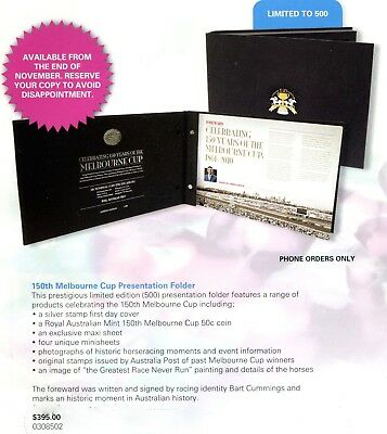 2010 150th Melbourne Cup Presentation Folder Ltd to 500 Exclusive 5 Sheets & 50c